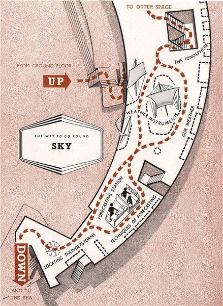 Associate Product FESTIVAL OF BRITAIN. Sky exhibit. Tour plan 1951 old vintage map chart