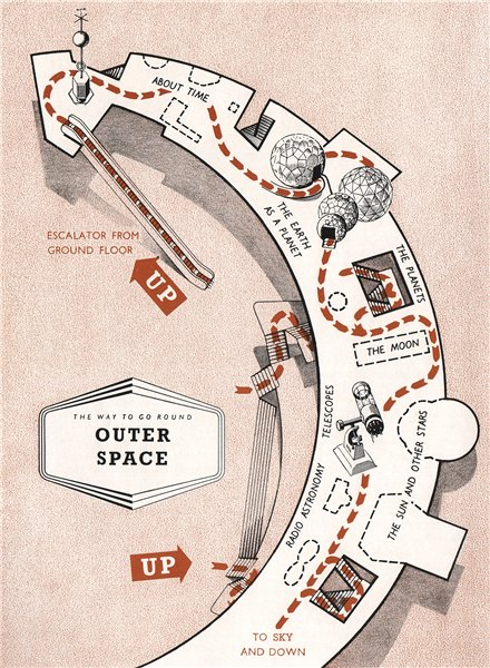 Associate Product FESTIVAL OF BRITAIN. Outer Space exhibit. Tour plan 1951 old vintage map chart