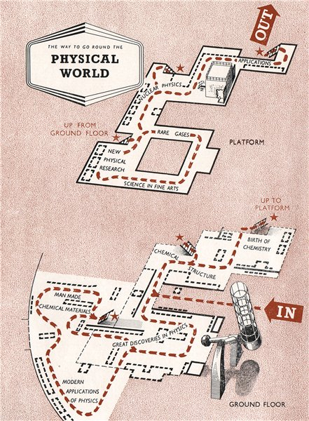 Associate Product FESTIVAL OF BRITAIN. The Physical World exhibit. Tour plan 1951 old map