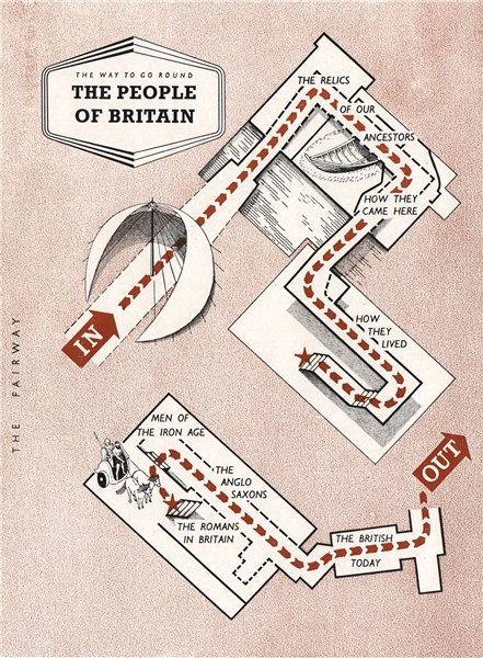 Associate Product FESTIVAL OF BRITAIN. The people of Britain exhibit. Tour plan 1951 old map