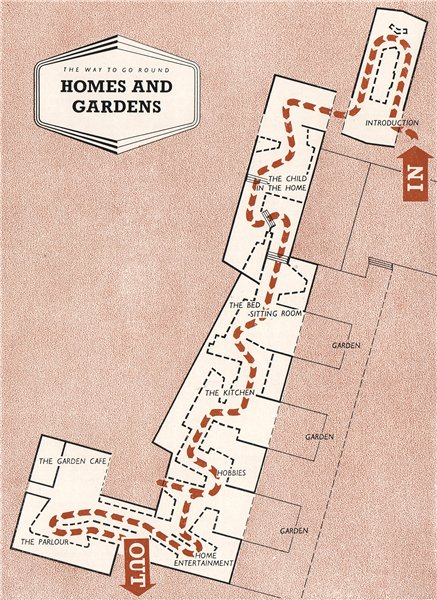 Associate Product FESTIVAL OF BRITAIN. Homes and Gardens exhibit. Tour plan 1951 old vintage map