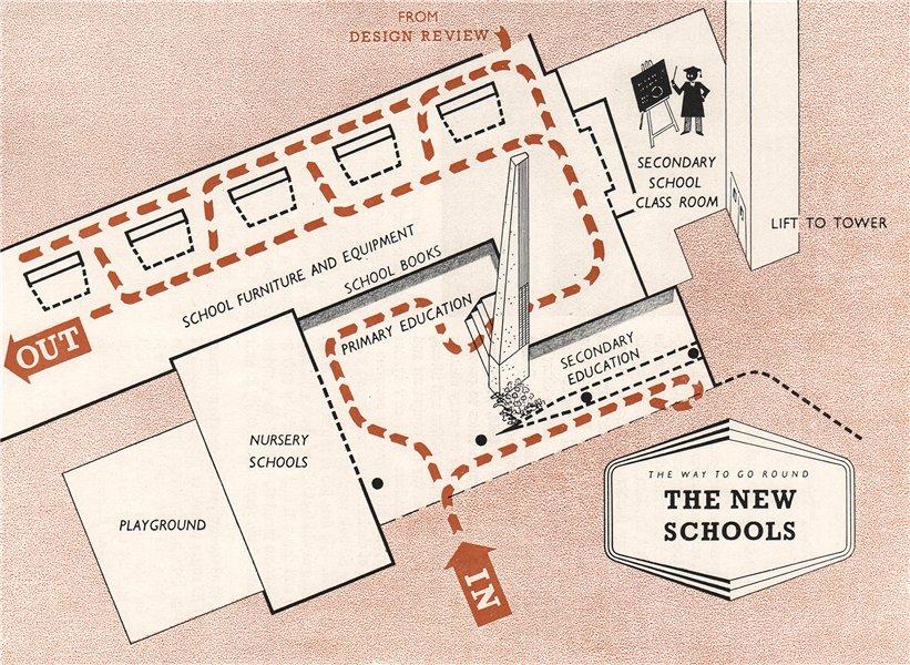 Associate Product FESTIVAL OF BRITAIN. The New Schools exhibit. Tour plan 1951 old vintage map