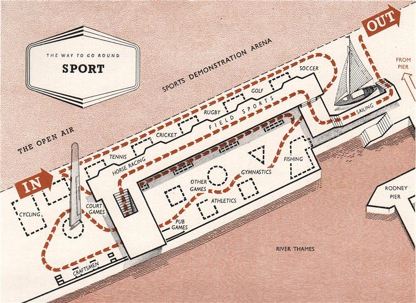 FESTIVAL OF BRITAIN. Sport exhibit. Tour plan 1951 old vintage map chart