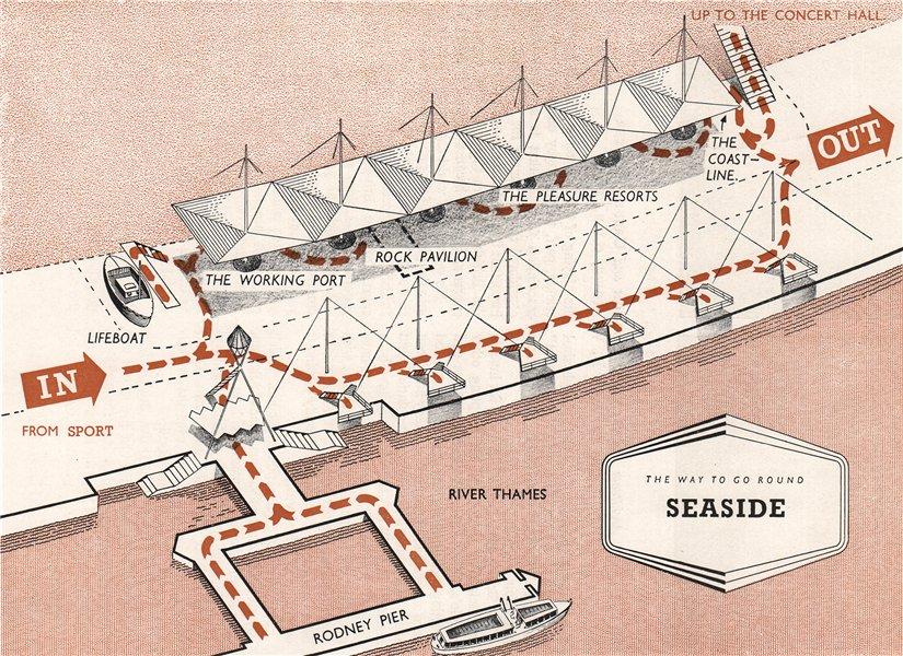 Associate Product FESTIVAL OF BRITAIN. Seaside exhibit. Tour plan 1951 old vintage map chart