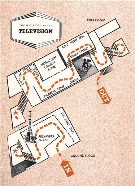 Associate Product FESTIVAL OF BRITAIN. Television exhibit. Tour plan 1951 old vintage map chart