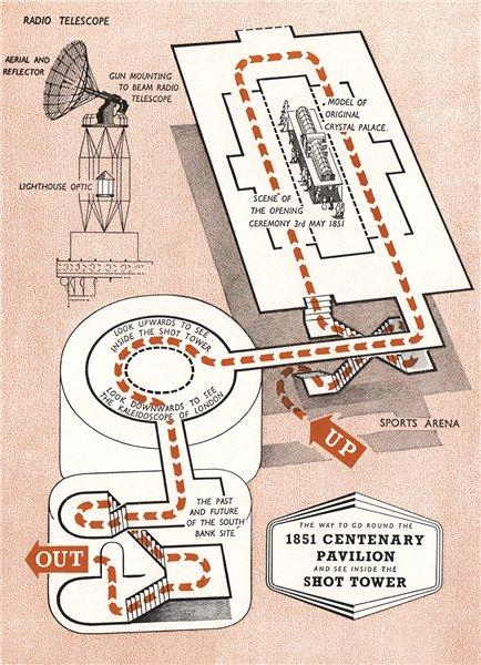 Associate Product FESTIVAL OF BRITAIN. 1851 Centenary Pavilion. Shot Tower. Tour plan 1951 map