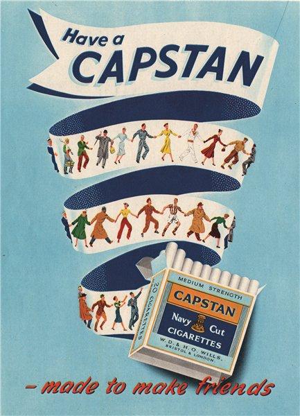 TOBACCO ADVERT. Capstan Cigarettes 1951 old vintage print picture