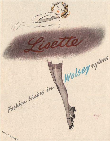 Associate Product WOLSEY ADVERT. Wolsey Ltd nylons. Lisette. Fashion 1951 old vintage print