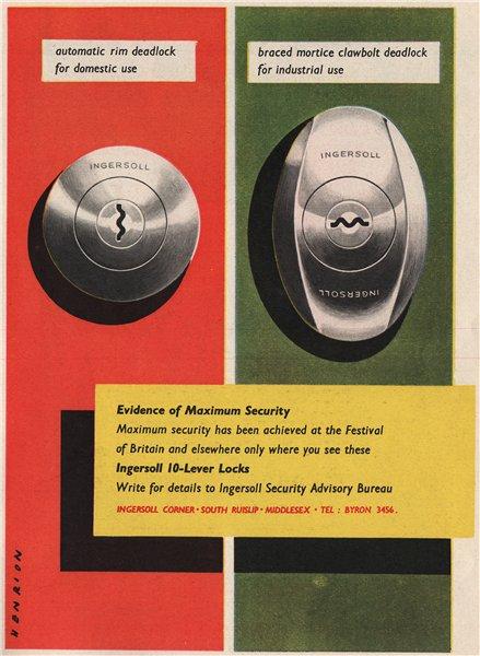 Associate Product INGERSOLL ADVERT. Ingersoll Locks. Security. Engineering 1951 old print