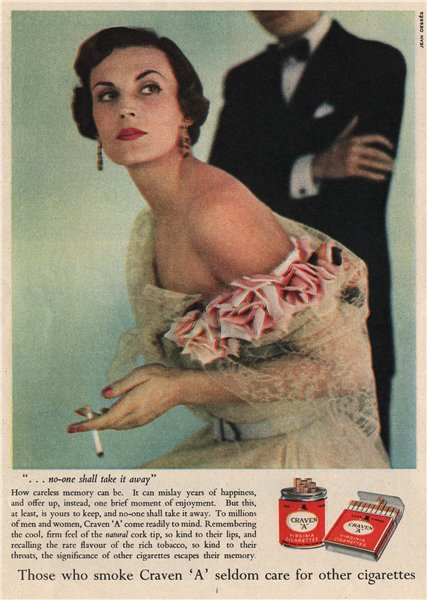 "Associate Product TOBACCO ADVERT. Craven ""A"" Cigarettes 1951 old vintage print picture"