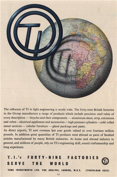 TUBE INVESTMENTS ADVERT. TI. Engineering 1951 old vintage print picture