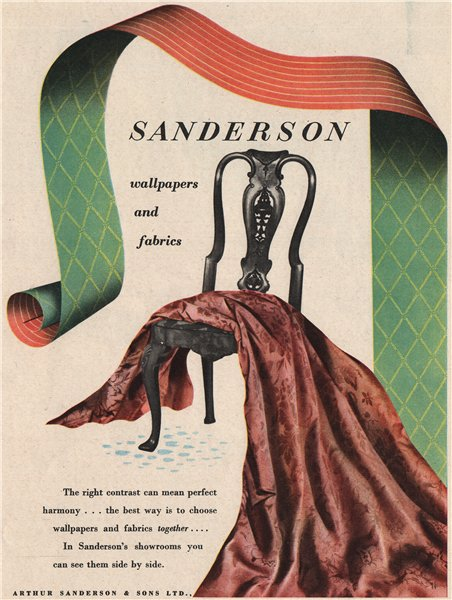Associate Product SANDERSON ADVERT. Arthur Sanderson wallpapers & fabrics. Textiles 1951 print