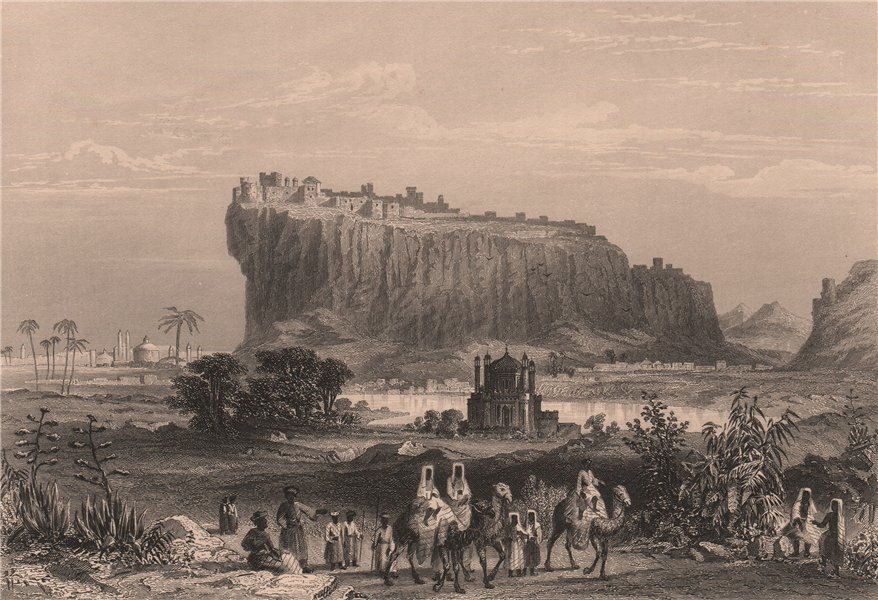 Associate Product BRITISH INDIA. The Hill Fortress of Gwalior. Camels 1858 old antique print