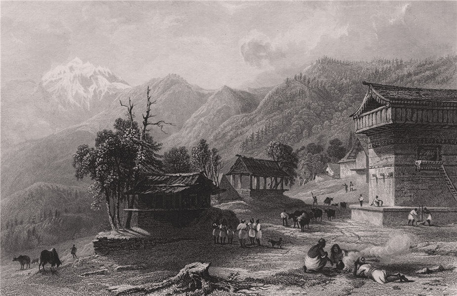 Associate Product BRITISH INDIA. The Village of Khandoo, Himalaya Mountains 1858 old print