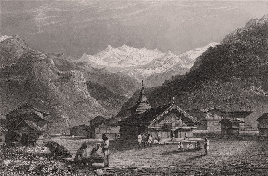 Associate Product BRITISH INDIA. Kasauli, a village near Shimla 1858 old antique print picture