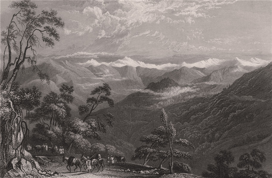 Associate Product BRITISH INDIA. Snowy Range, from Landour. Himalayas 1858 old antique print
