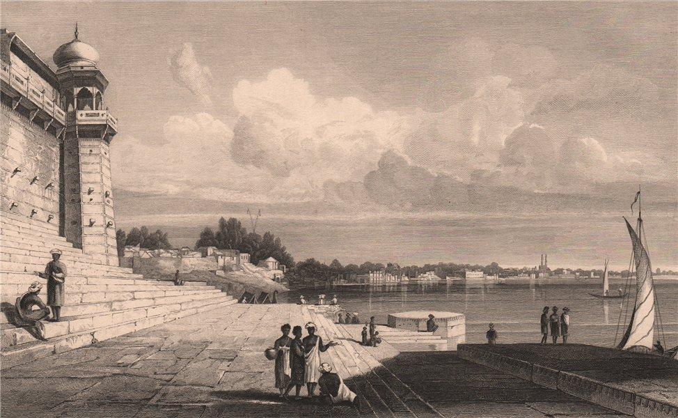 Associate Product BRITISH INDIA. Benares (Varanasi) . Ghats 1858 old antique print picture