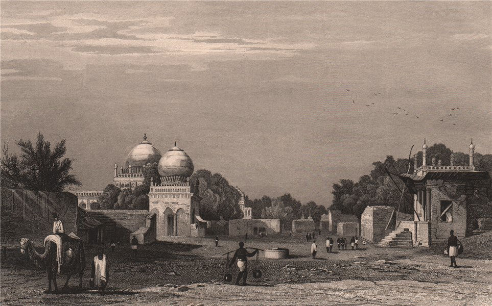 Associate Product BRITISH INDIA. Bijapur. View of the mosque & town 1858 old antique print