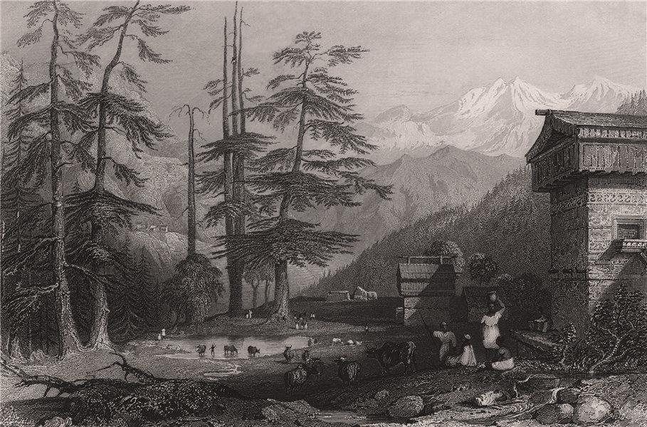 Associate Product BRITISH INDIA. Village of Koghera & Deodar Forest. Himalayas. ALLOM 1858 print