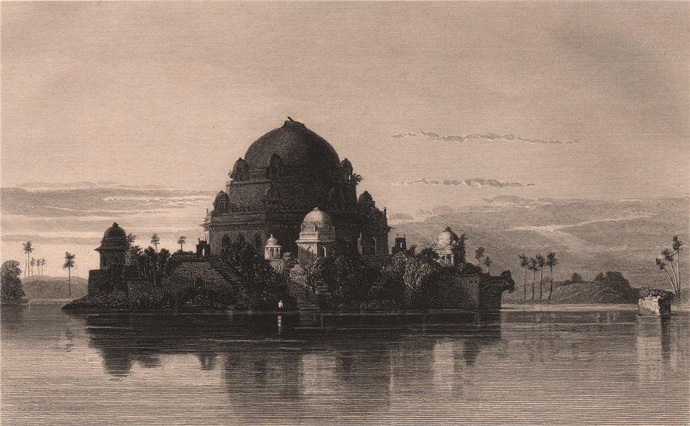 BRITISH INDIA. Tomb of Sher Shah Suri, Sasaram 1858 old antique print picture