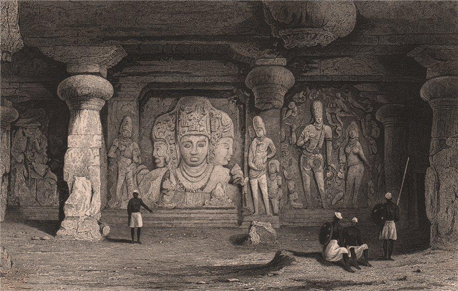Associate Product BRITISH INDIA. Traid figure, Interior of Elephanta caves. Bombay (Mumbai)  1858
