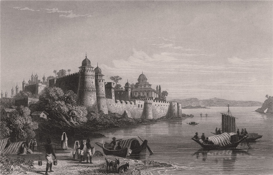 Associate Product BRITISH INDIA. View of Allahabad, Showing the Fort 1858 old antique print
