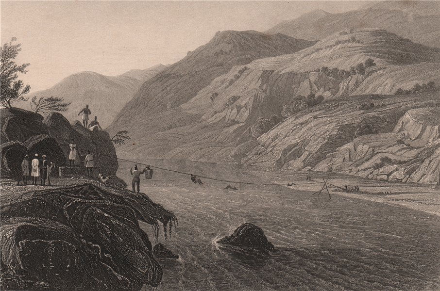 Associate Product INDIAN MUTINY. Fugitive Sepoys crossing the River Tons, by a Jhoola 1858 print
