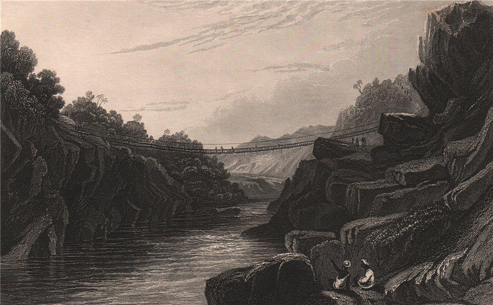Associate Product BRITISH INDIA. Grass rope bridge at Tehri, Garhwal 1858 old antique print