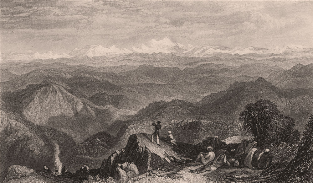 Associate Product BRITISH INDIA. Snowy Range, From Tyne or Marma. Himalayas. TURNER 1858 print
