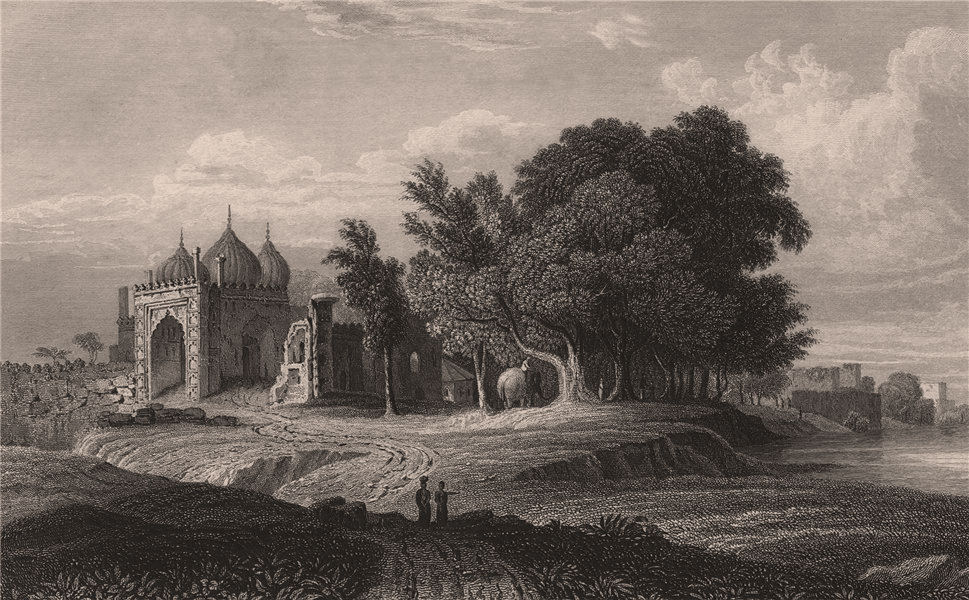 Associate Product BRITISH INDIA. A Ruin on the Banks of the Yamuna, above the city of Delhi 1858