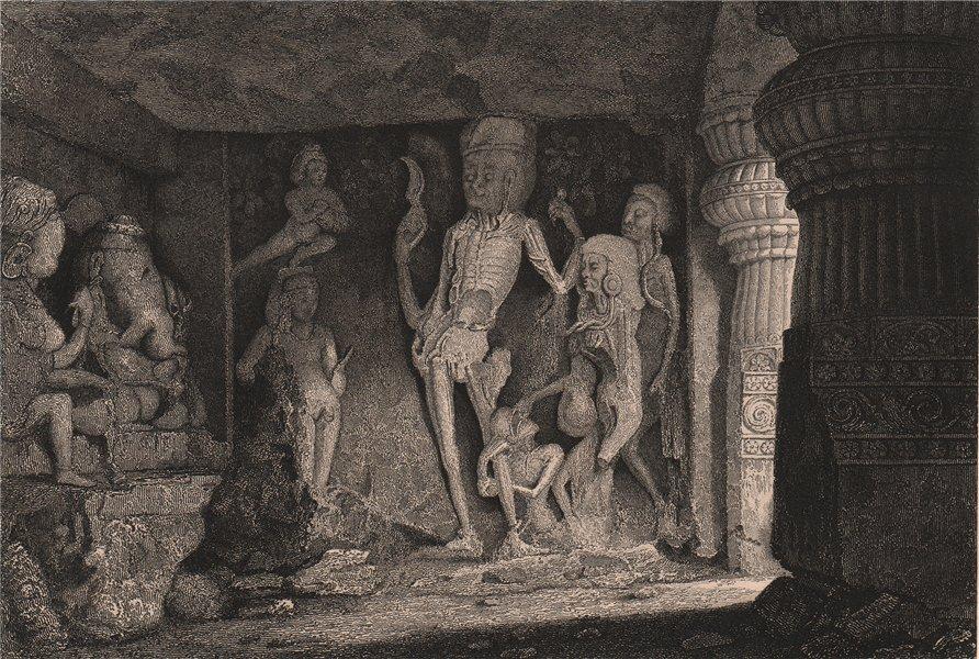 Associate Product BRITISH INDIA. Chamundi, Ramesvara, Ellora Caves (cave 21)  1858 old print
