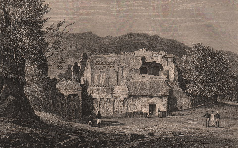 Associate Product BRITISH INDIA. Front view of the Kylas, Caves of Ellora 1858 old antique print
