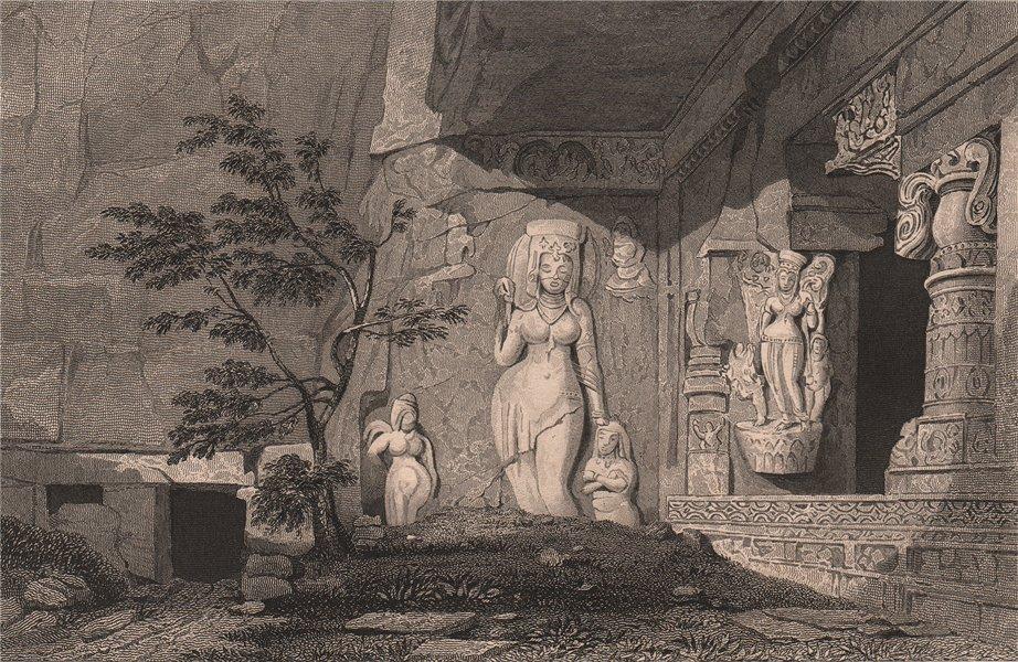Associate Product BRITISH INDIA. Ganga, river goddess. Ramesvara, Ellora Caves.  (cave 21)  1858