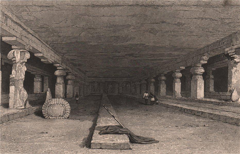 Associate Product BRITISH INDIA. Interior of Dher Warra, Caves of Ellora 1858 old antique print