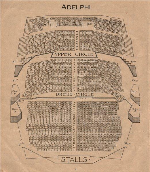 Associate Product ADELPHI THEATRE. Vintage seating plan. London West End 1936 old vintage print