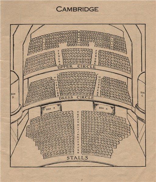 CAMBRIDGE THEATRE. Vintage seating plan. London West End 1936 old print