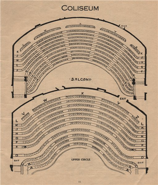 Associate Product COLOSSEUM THEATRE. Vintage seating Balcony Upper Circle London W End 1936