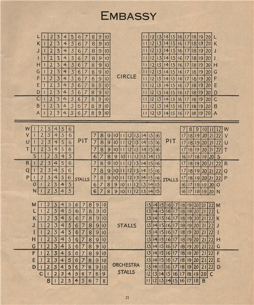 Associate Product EMBASSY THEATRE. Vintage seating plan. London. Swiss Cottage 1936 old print
