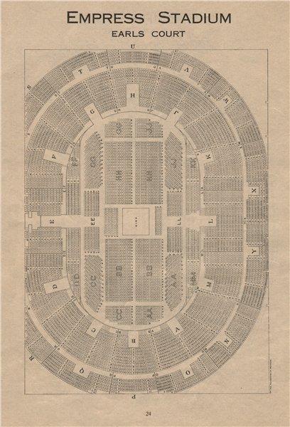 Associate Product EMPRESS STADIUM EARLS COURT. Vintage seating plan. London. Theatre 1936 print