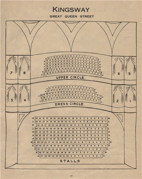Associate Product KINGSWAY GREAT QUEEN STREET (NOVELTY) THEATRE. Seating plan. West End 1936