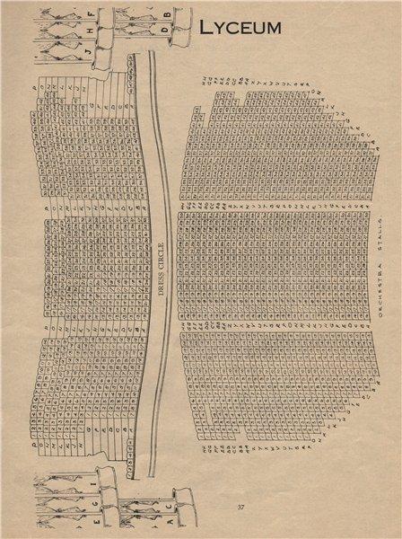 Associate Product LYCEUM THEATRE. Vintage seating plan. London West End 1936 old vintage print