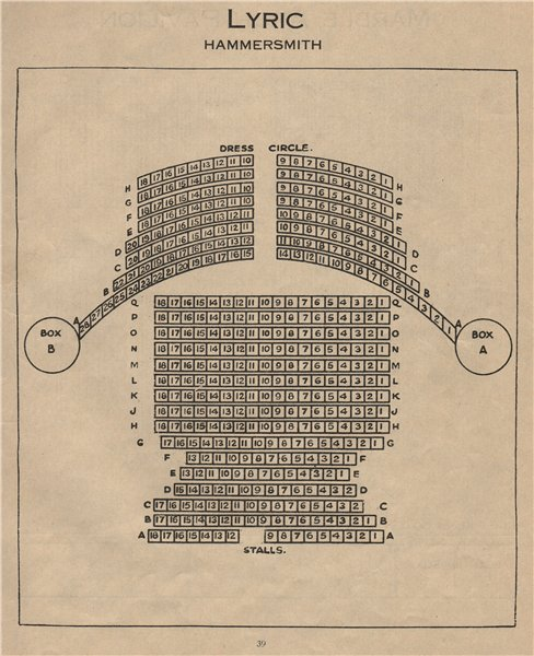 Associate Product LYRIC HAMMERSMITH THEATRE. Vintage seating plan. London 1936 old vintage print