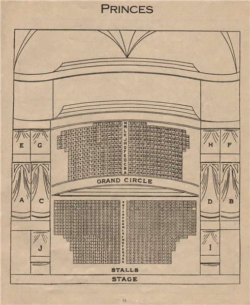 Associate Product PRINCE'S (NOW SHAFTESBURY) THEATRE. Vintage seating plan. London West End 1936