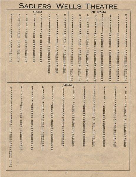 Associate Product SADLERS WELLS THEATRE. Vintage seating plan. London West End 1936 old print