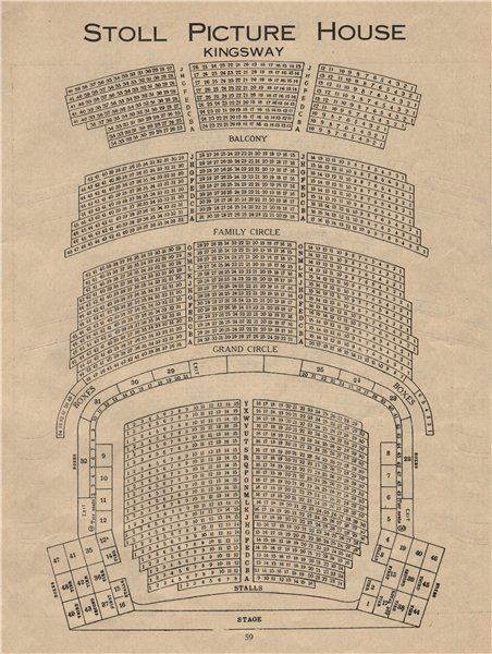 Associate Product STOLL PICTURE HOUSE KINGSWAY. Vintage seating plan (now Peacock Theatre)  1936