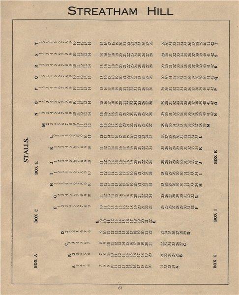 STREATHAM HILL THEATRE. Vintage seating plan. Stalls. London 1936 old print