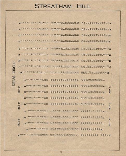 Associate Product STREATHAM HILL THEATRE. Vintage seating plan. Dress Circle. London 1936 print