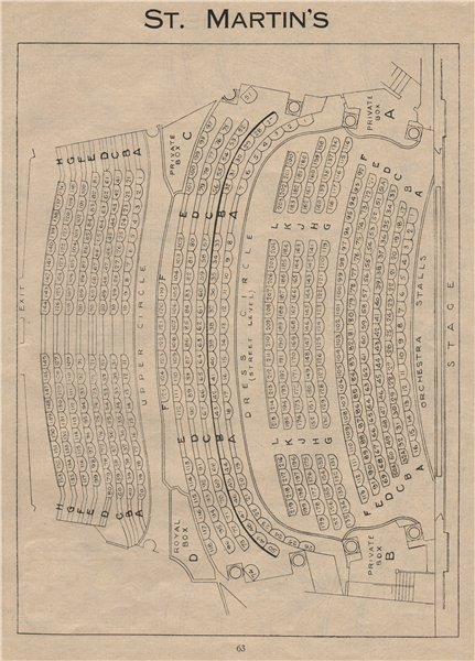 Associate Product ST. MARTIN'S THEATRE. Vintage seating plan. London West End 1936 old print