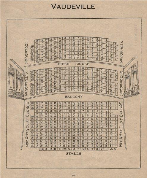 Associate Product VAUDEVILLE THEATRE. Vintage seating plan. London West End 1936 old print