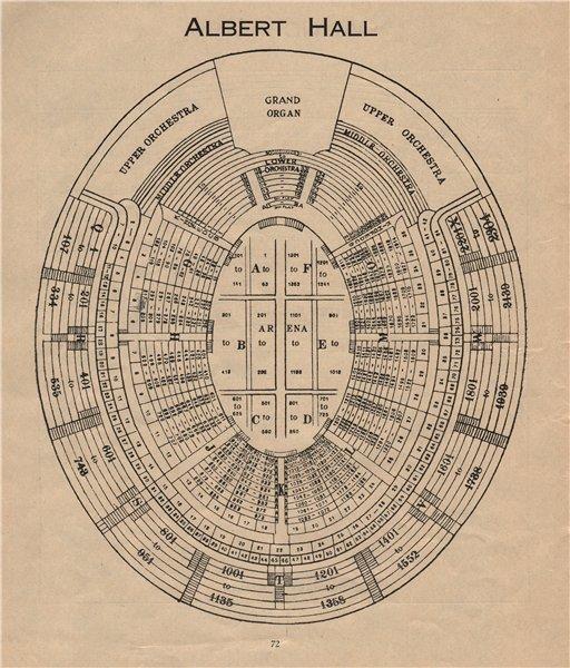 ROYAL ALBERT HALL. Vintage seating plan. London. Concert Hall 1936 old print
